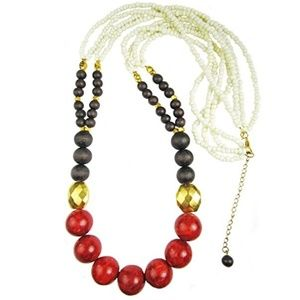 Jewelry - Red Coral, Wood Beads, Porcelain and Gold Plated